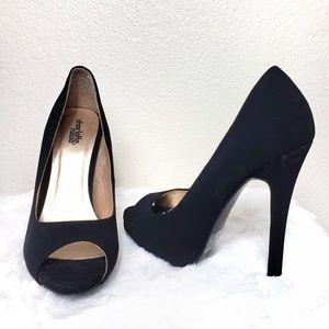 Black Peep-Toe High Heels